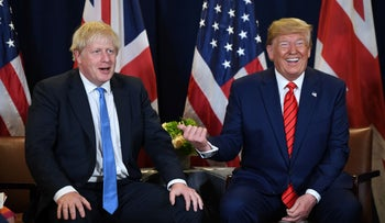 President Donald Trump and British Prime Minister Boris Johnson hold a meeting at UN Headquarters in New York, September 24, 2019.