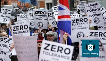 A rally organized by the Campaign Against Anti-Semitism outside the head office of the British opposition Labour Party in London in April, 2018.