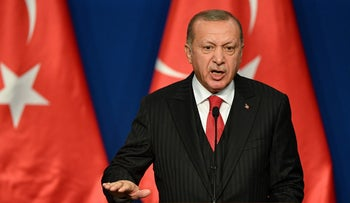 Turkish President Recep Tayyip Erdogan speaks during a joint press conference with Hungarian Prime Minister at Varkert Bazar cultural center in Budapest. November 07, 2019