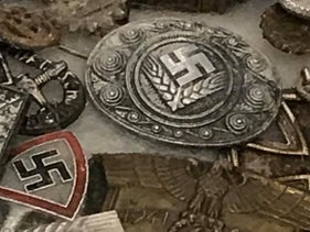Nazi memorabilia on sale at a stall in Covent Garden's Jubilee Hall Market in central London