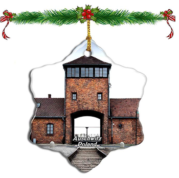 A Christmas ornament with a photo of Auschwitz on it listed for sale on Amazon.