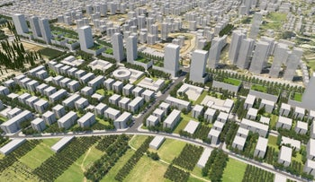 The rendering of the planned new neighborhood in Rehovot.