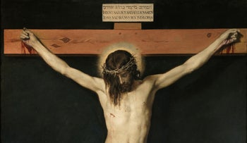 """""""Christ on the Cross"""" (1632), by Diego Velázquez. The notice on the top reads """"Jesus of Nazareth, the King of the Jews."""""""