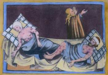 Black Death buboes, third visitation of the plague,  Medieval painting from a German language Bible of 1411 from Toggenburg Switzerland