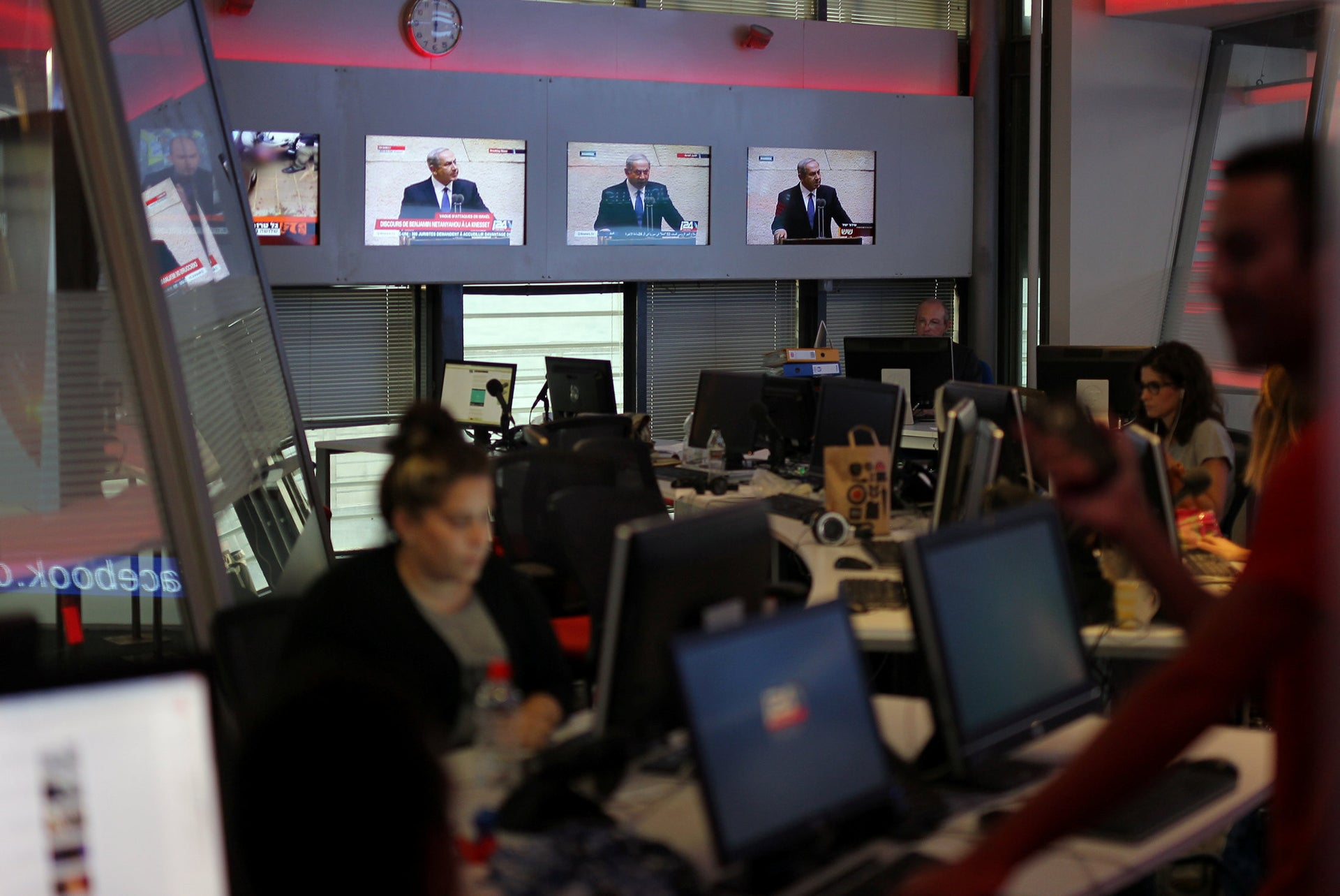 Staff in the i24News newsroom, October 13, 2015