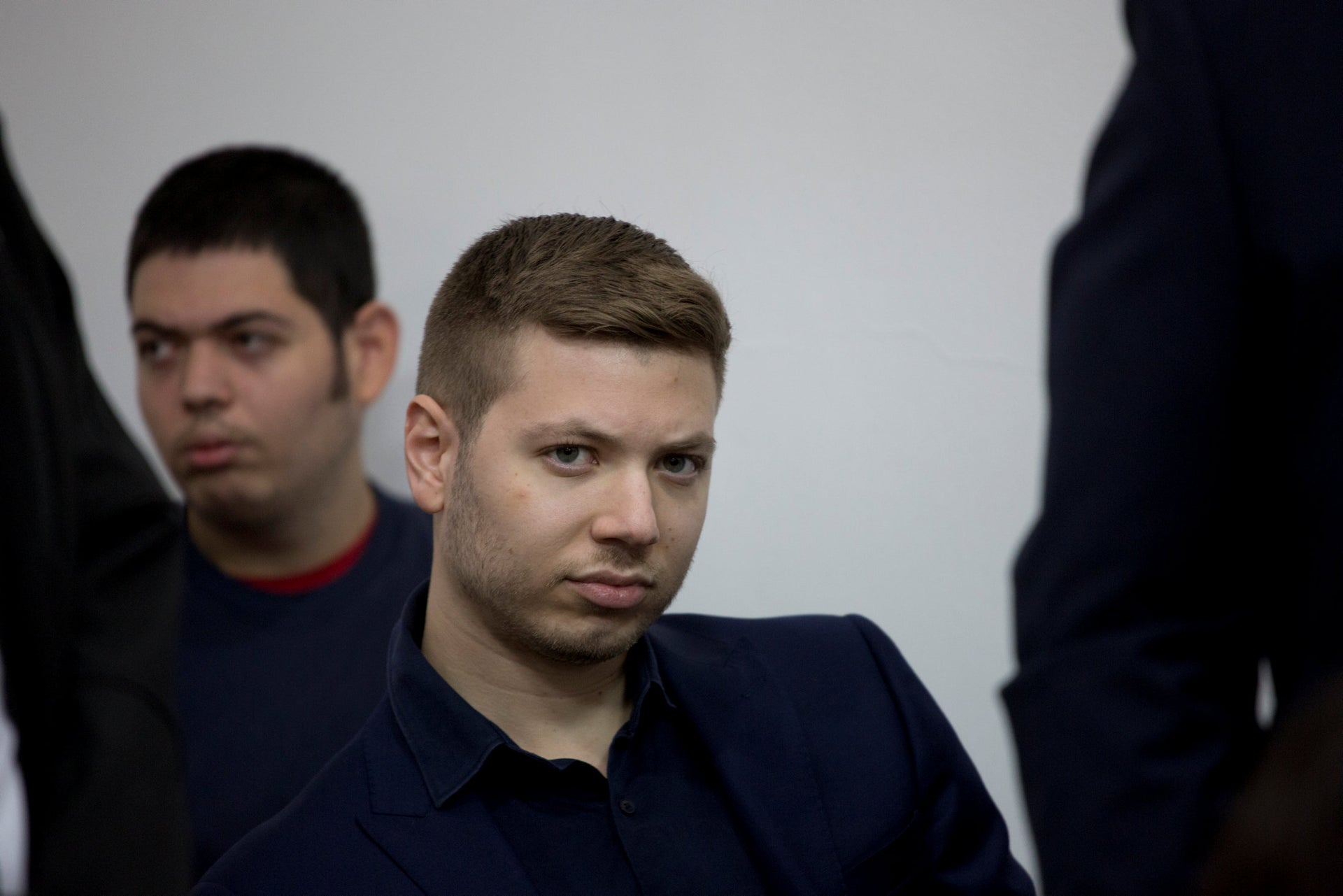 Yair Netanyahu testifying in court after suing an activist for libel, Tel Aviv, October 12, 2018