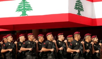 Lebanese marine special forces soldiers march near Beirut.
