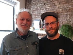 Seth Rogen (R) and his father Mark ahead of a Workers Circle event honoring them, November 26, 2019
