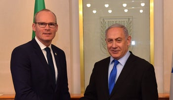 Simon Coveney (L) meets PM Benjamin Netanyahu, Jerusalem, December 2, 2019