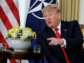 U.S. President Donald Trump speaks during his meeting with NATO Secretary General, Jens Stoltenberg at Winfield House in London, December 3, 2019.