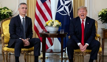 U.S. President Donald Trump speaks during a meeting with NATO Secretary General, Jens Stoltenberg at Winfield House in London, December 3, 2019.