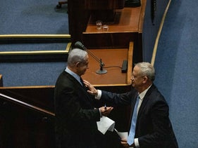 Benny Gantz and Prime Minister Benjamin Netanyahu at the Knesset, Jerusalem, October 11, 2019.