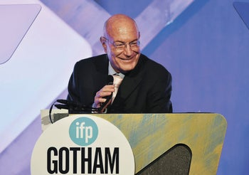Producer Arnon Milchan accepting the Film Tribute Award at the 26th Annual Gotham Independent Film Awards in New York, November 2016.