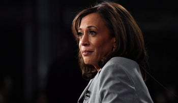 California Senator Kamala Harris speaks to the press after the fifth Democratic primary debate of the 2020 presidential campaign season at Tyler Perry Studios in Atlanta, Georgia on November 20, 2019.