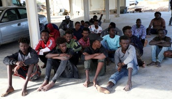 Migrants after being rescued by the Libyan coast guard in Tripoli, October 16, 2019.