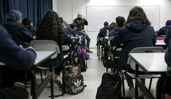 Students at a school in Taibeh, Israel, December 3, 2019.