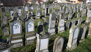 The Jewish Westhoffen cemetery near Strasbourg, eastern France, after 107 graves were found vandalised with swastikas and antisemitic inscriptions, December 4, 2019.