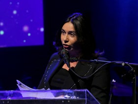 """Israel's Culture and Sports Minister Miri Regev at the annual """"life achievement"""" awards ceremony of the Israeli Union of Performing Artists, known by its Hebrew acronym EMI, Tuesday, December 3, 2019."""