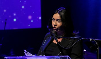 "Israel's Culture and Sports Minister Miri Regev at the annual ""life achievement"" awards ceremony of the Israeli Union of Performing Artists, known by its Hebrew acronym EMI, Tuesday, December 3, 2019."