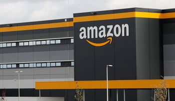 Amazon logo at one of the company's centre in Bretigny-sur-Orge, France, November 28, 2019