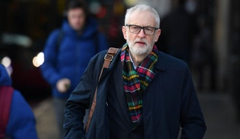 Opposition Labour party leader Jeremy Corbyn campaigns outside Finnsbury Park station in north London on December 2, 2019.