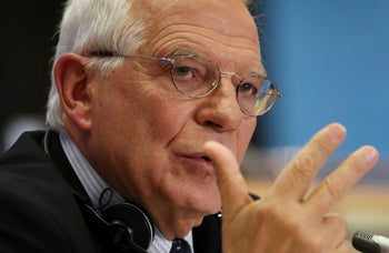 Incoming European Union foreign policy chief Josep Borrell Fontelles of Spain gestures during his hearing before the European Parliament in Brussels, Belgium. October 7, 2019