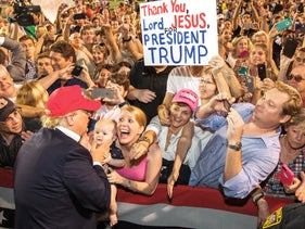 A 2015 Trump campaign rally in Mobile, Alabama.