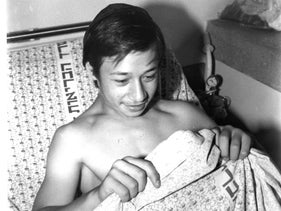 A young immigrant from the former Soviet Union, after his operation, in 1991.