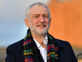 Opposition Labour Party leader Jeremy Corbyn during a general election campaign visit at Whitby Leisure Centre in Whitby, northern England, December 1, 2019.