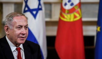 Israeli Prime Minister Benjamin Netanyahu attends a meeting with the Portuguese Prime Minister at the Sao Bento Palace in Lisbon on December 5, 2019.