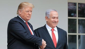 President Donald Trump welcomes visiting Israeli Prime Minister Benjamin Netanyahu to the White House in Washington, March 25, 2019.