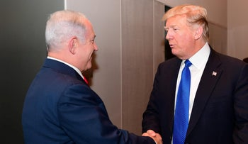 Meeting of Prime Minister Benjamin Netanyahu with U.S. President Donald Trump in Davos, Switzerland, July 25, 2019.