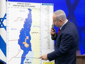 Prime Minister Benjamin Netanyahu at the press conference in which he unveiled his plan to annex the jordan Valley and the northern Dead Sea region, September 10, 2019.