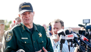 Escambia County Sheriff David Morgan speaks to press following a shooting on the Pensacola Naval Air Base on December 06, 2019.