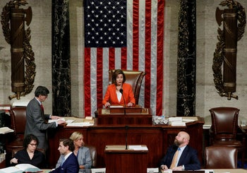 Speaker of the House Nancy Pelosi presides over a vote in the House of Representatives, October 31, 2019.