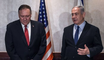 Mike Pompeo (L) meets with Benjamin Netanyahu, Lisbon, Portugal, December 4, 2019