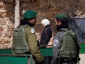 Border Police near the Tomb of the Patriarchs in Hebron, May 22, 2015.