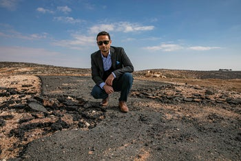 Khaled Al Sabawi on the land his company bought in the West Bank Palestinian village of Turmusaya, northeast of Ramallah.