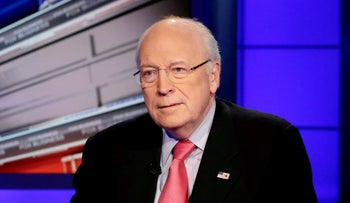 Former Vice President Dick Cheney is interviewed by Neil Cavuto for his program on the Fox Business Network, in New York, December 9, 2013.