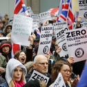 A demonstration anti-Semitism outside the head office of the British opposition Labour Party in central London, April 8, 2018.