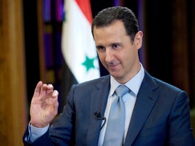Syrian President Bashar Assad during an interview with the BBC, in Damascus, Syria, February 10, 2015