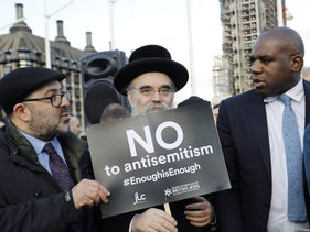 A protest against anti-Semitism in the Labour party, central London, March 26, 2018.