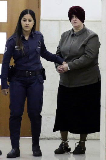 Malka Leifer being brought to court in Jerusalem, February 2018.