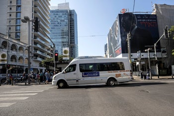 The first-ever public bus operated on Shabbat driving through central Tel Aviv, November 23, 2019.