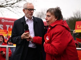 Labour Party leader Jeremy Corbyn greeting a supporter at a campaign event in Bolton, northwest England, December 10, 2019.