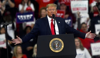 U.S. President Donald Trump speaks during a campaign rally on December 10, 2019 in Hershey, Pennsylvania.
