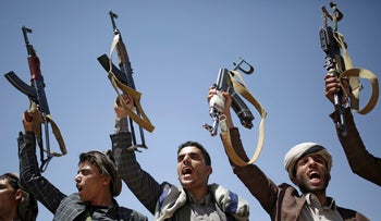 Houthi tribesmen chant slogans during a tribal gathering showing support for the Houthi movement, in Sanaa, Yemen, September 21, 2019.