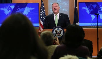 U.S. Secretary of State Mike Pompeo makes remarks to members of the media at the press briefing room of the State Department in Washington, DC, December 11, 2019.