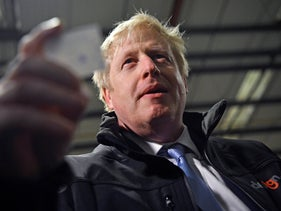 British Prime Minister Boris Johnson campaigning in Hengoed, south Wales, December 11, 2019.