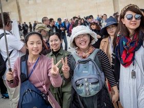 Tourists at the Western Wall in Jerusalem.
